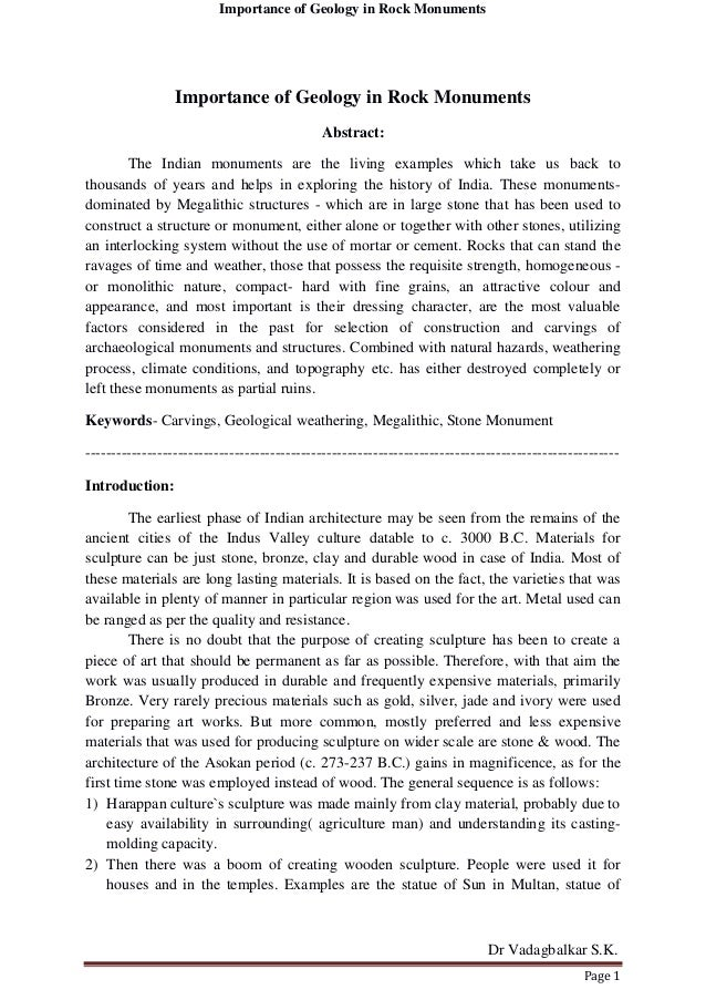 Importance of Geology in Rock Monuments Dr Vadagbalkar S.K. Page 1 Importance of Geology in Rock Monuments Abstract: The I...