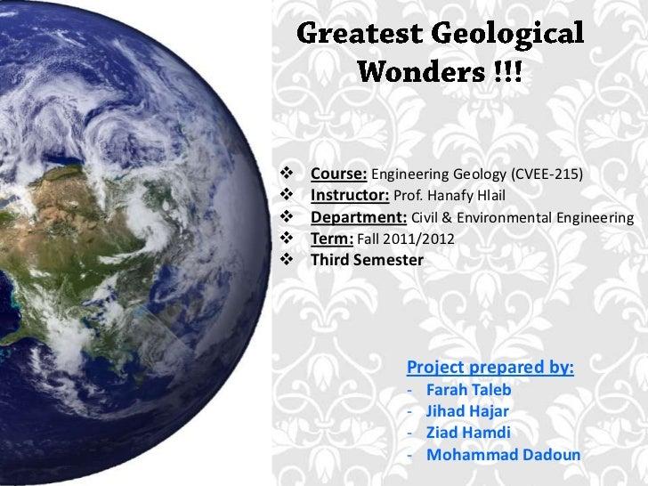   Course: Engineering Geology (CVEE-215)   Instructor: Prof. Hanafy Hlail   Department: Civil & Environmental Engineer...