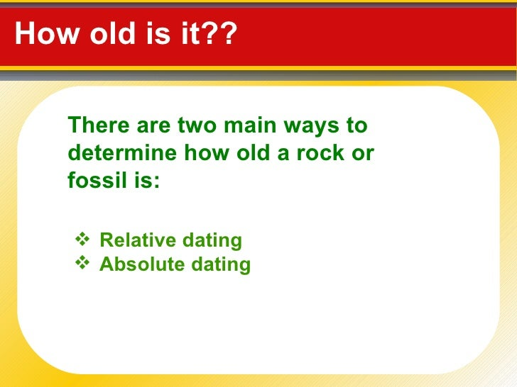What are the two methods of dating rocks and fossils