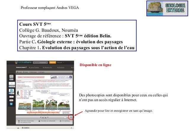 Professeur remplaçant Andres VEGA  Cours SVT 5ème Collège G. Baudoux, Nouméa Ouvrage de référence : SVT 5ème édition Belin...