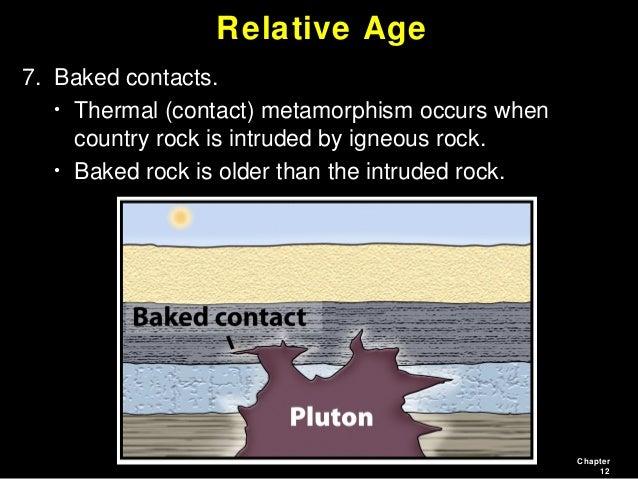 Contact metamorphism in relative dating