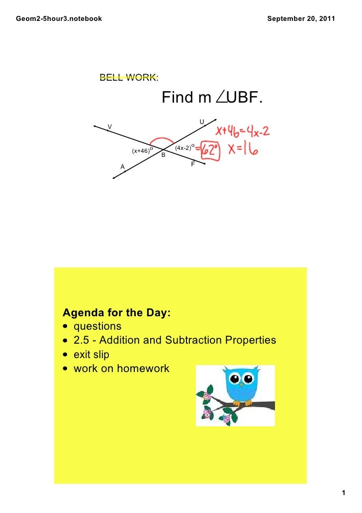 Geom2­5hour3.notebook                                       September 20, 2011                    BELL WORK:              ...
