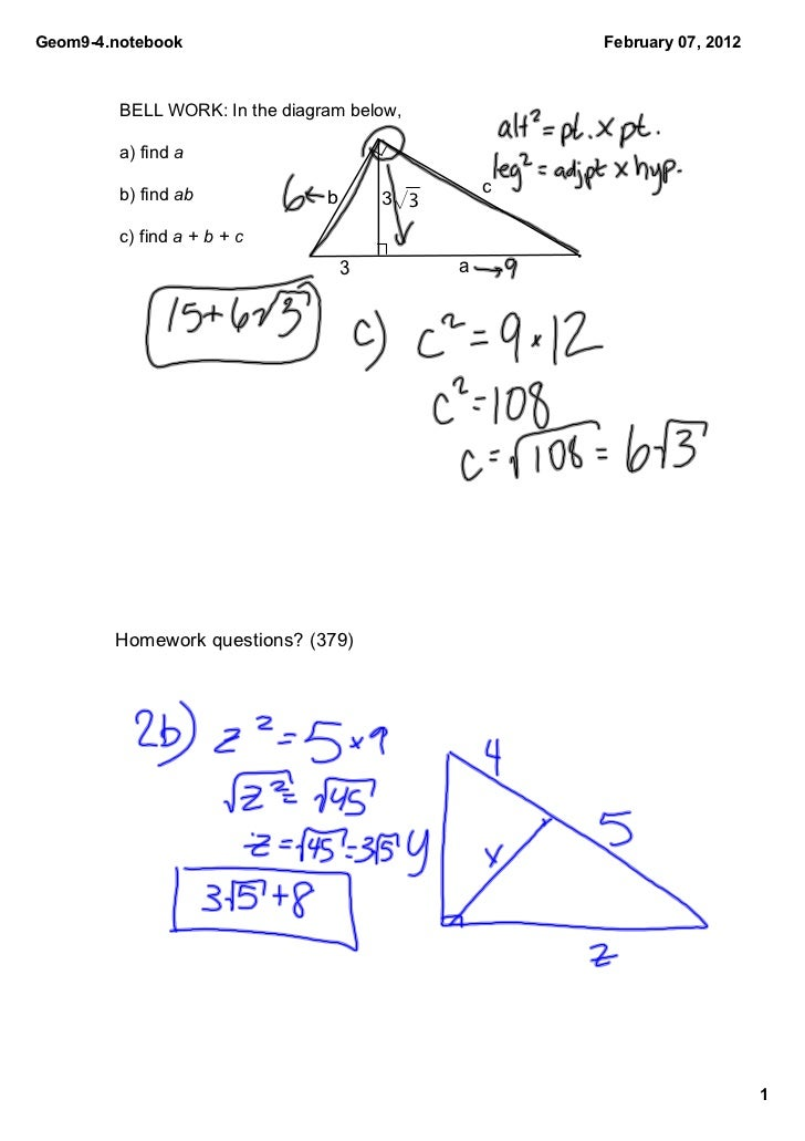 Geom9­4.notebook                                      February 07, 2012         BELL WORK: In the diagram below,         a...