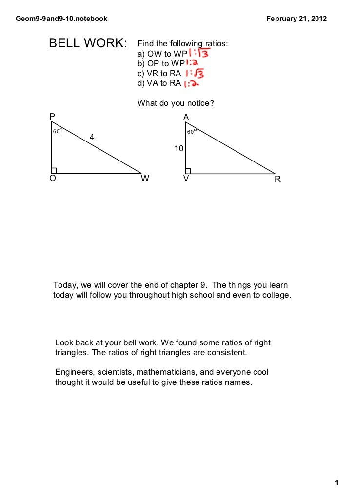 Geom9­9and9­10.notebook                                            February 21, 2012        BELL WORK:             Find th...