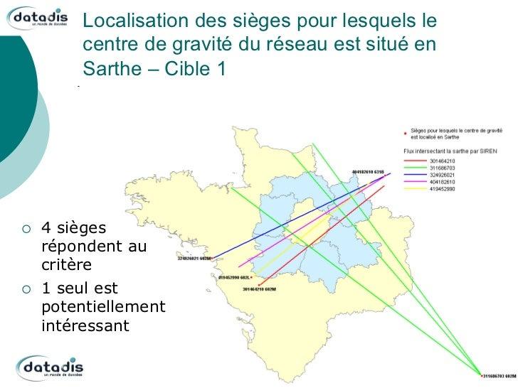 Localisation des sièges pour lesquels le           centre de gravité du réseau est situé en           Sarthe – Cible 1¡ ...