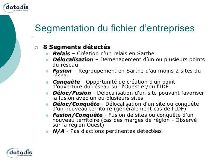 Segmentation du fichier d'entreprises¡   8 Segments détectés      l   Relais – Création d'un relais en Sarthe      l...