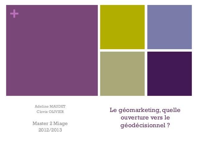 +    Adeline MAUDET     Clovis OLIVIER   Le géomarketing, quelle                          ouverture vers le    Master 2 Mi...