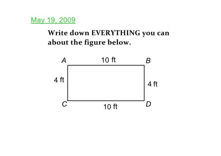 May 19, 2009     Write down EVERYTHING you can     about the figure below.          A       10 ft      B        4 ft      ...