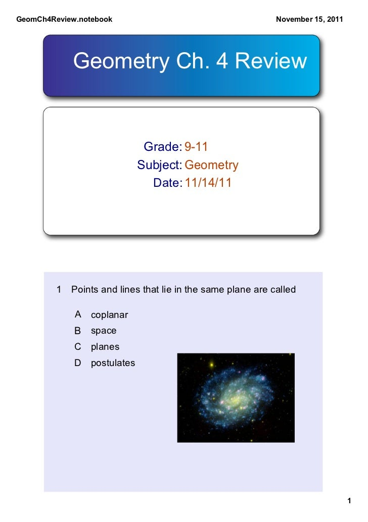 GeomCh4Review.notebook                                      November 15, 2011            Geometry Ch. 4 Review            ...