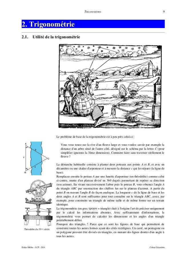 TRIGONOMÉTRIE 9 2. Trigonométrie2. Trigonométrie 2.1. Utilité de la trigonométrie Théodolite du 19ème siècle Le problème d...