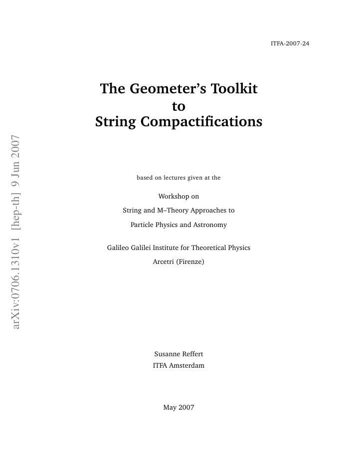 ITFA-2007-24                                         The Geometer's Toolkit                                               ...