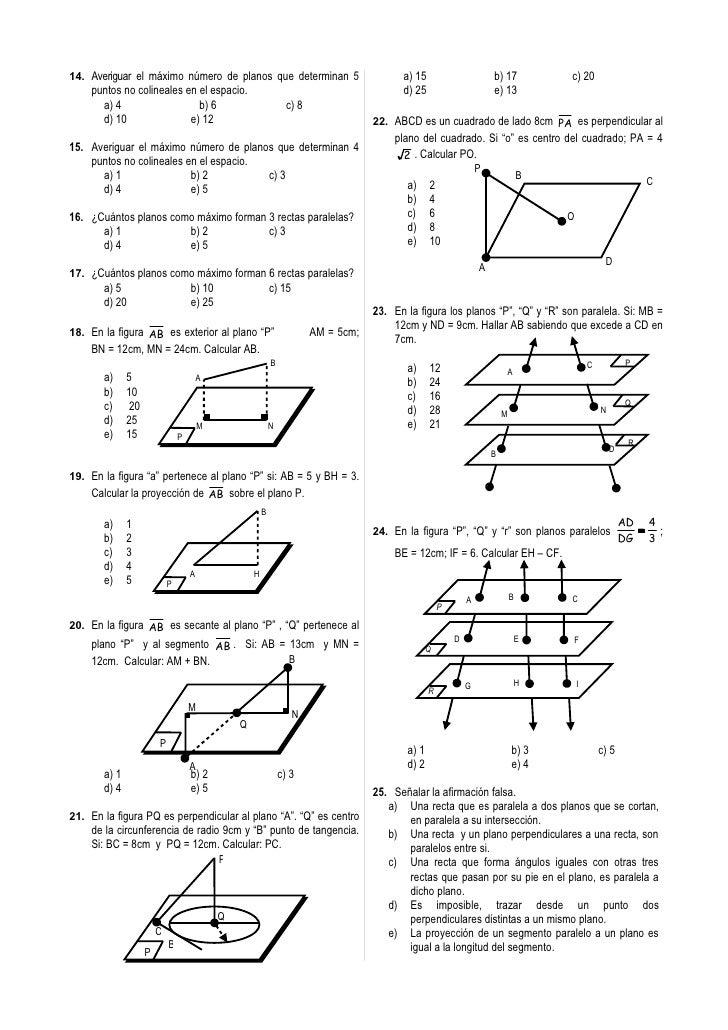 14. Averiguar el máximo número de planos que determinan 5                                  a) 15                       b) ...
