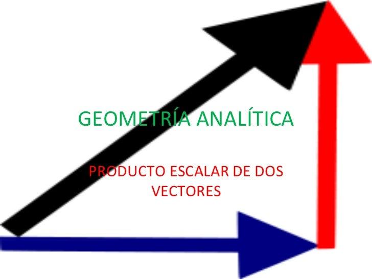 GEOMETRÍA ANALÍTICA PRODUCTO ESCALAR DE DOS VECTORES