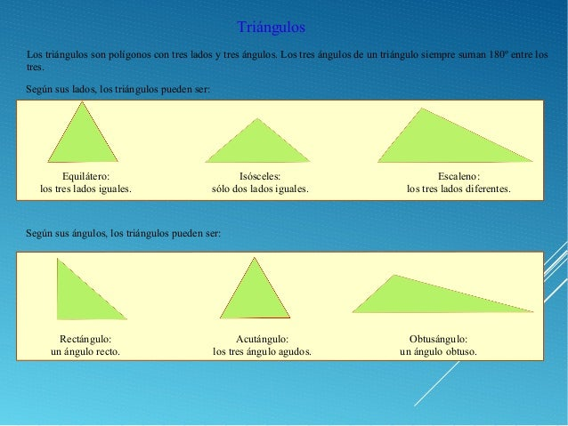 Triángulos Los triángulos son polígonos con tres lados y tres ángulos. Los tres ángulos de un triángulo siempre suman 180º...