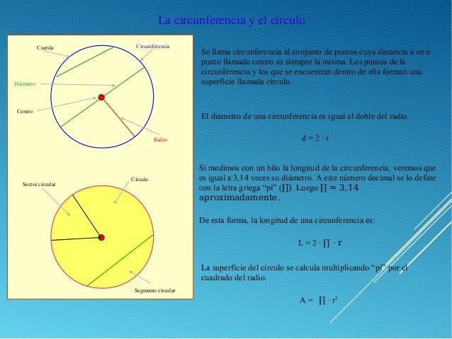 La circunferencia y el círculo Se llama circunferencia al conjunto de puntos cuya distancia a otro punto llamado centro es...