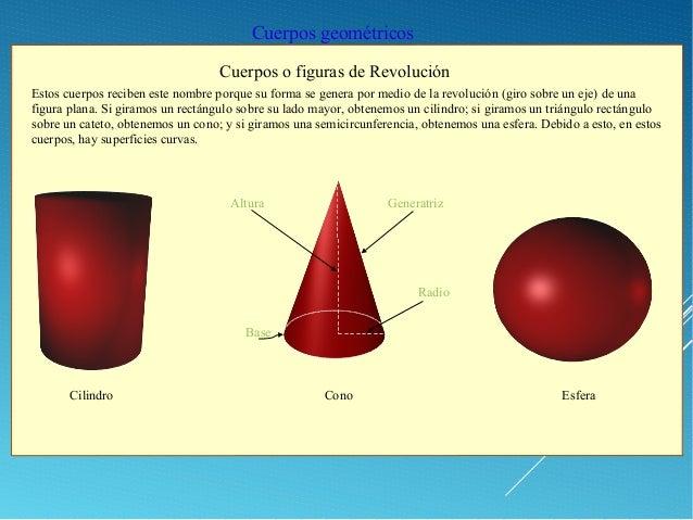 Cuerpos geométricos Cuerpos o figuras de Revolución Cilindro Cono Esfera Estos cuerpos reciben este nombre porque su forma...