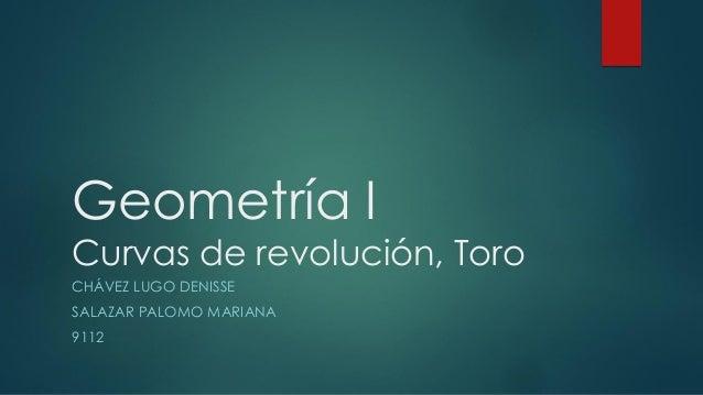 Geometría I Curvas de revolución, Toro CHÁVEZ LUGO DENISSE SALAZAR PALOMO MARIANA 9112
