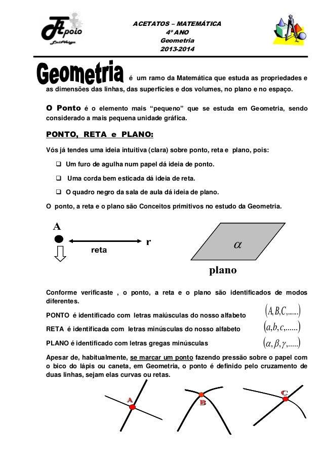 ACETATOS – MATEMÁTICA 4º ANO Geometria 2013-2014  é um ramo da Matemática que estuda as propriedades e as dimensões das li...