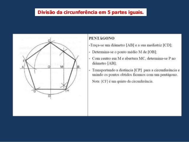 Divisão da circunferência em 5 partes iguais.