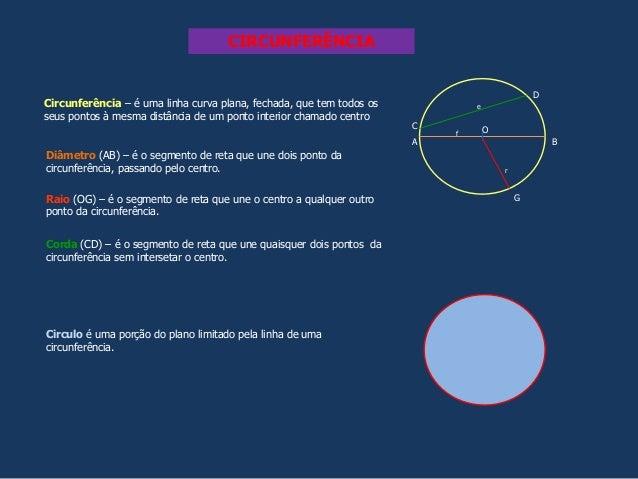 CIRCUNFERÊNCIA Circunferência – é uma linha curva plana, fechada, que tem todos os seus pontos à mesma distância de um pon...