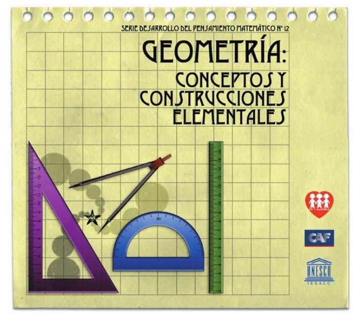 372.7 And. Geometría: conceptos y construcciones elementales Federación Internacional Fe y Alegría, 2006 32 p.; 21,5 x 19 ...