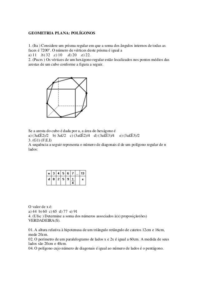 GEOMETRIA PLANA: POLÍGONOS 1. (Ita ) Considere um prisma regular em que a soma dos ângulos internos de todas as faces é 72...