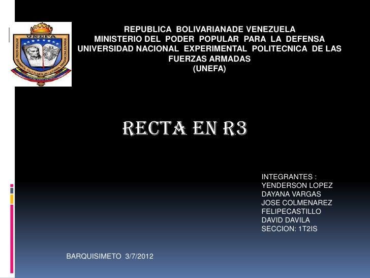 REPUBLICA BOLIVARIANADE VENEZUELA     MINISTERIO DEL PODER POPULAR PARA LA DEFENSA  UNIVERSIDAD NACIONAL EXPERIMENTAL POLI...