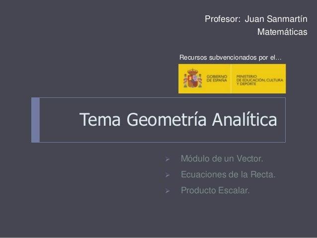 Tema Geometría Analítica Profesor: Juan Sanmartín Matemáticas  Módulo de un Vector.  Ecuaciones de la Recta.  Producto ...