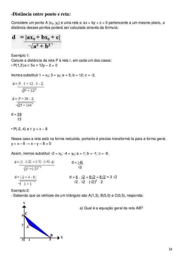 Duas retas são ditas perpendiculares quando os seuscoeficientes angulares  são tais que  18. 18-Distância entre ponto ... 5fed1ca22a5e7