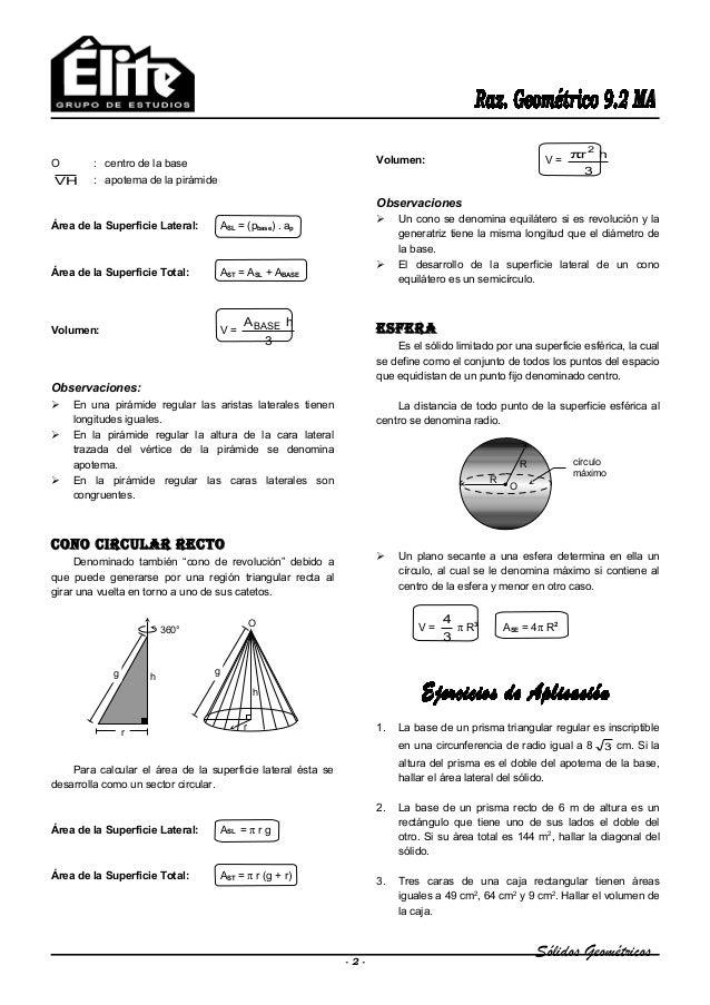 Sólidos Geométricos O : centro de la base VH : apotema de la pirámide Área de la Superficie Lateral: ASL = (pbase) . ap Ár...