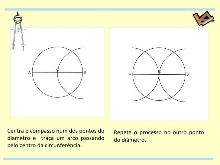 Centra o compasso num dos pontos do diâmetro e  traça um arco passando pelo centro da circunferência. Repete o processo no...