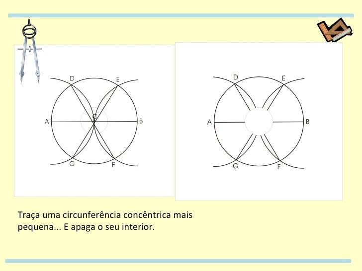 Traça uma circunferência concêntrica mais pequena... E apaga o seu interior.