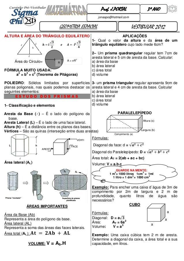 1  GEOMETRIA ESPACIAL  3º ANO  VESTIBULAR 2012  Prof. J.PORTAL  jonaspo@hotmail.com  GUARDE NA MENTE:  1 m3= 1000 litros 1...