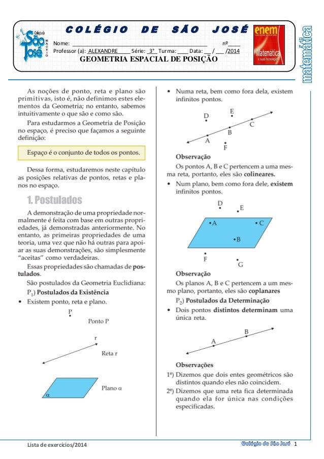 Geometria espacial de posição - Uma abordagem ampla