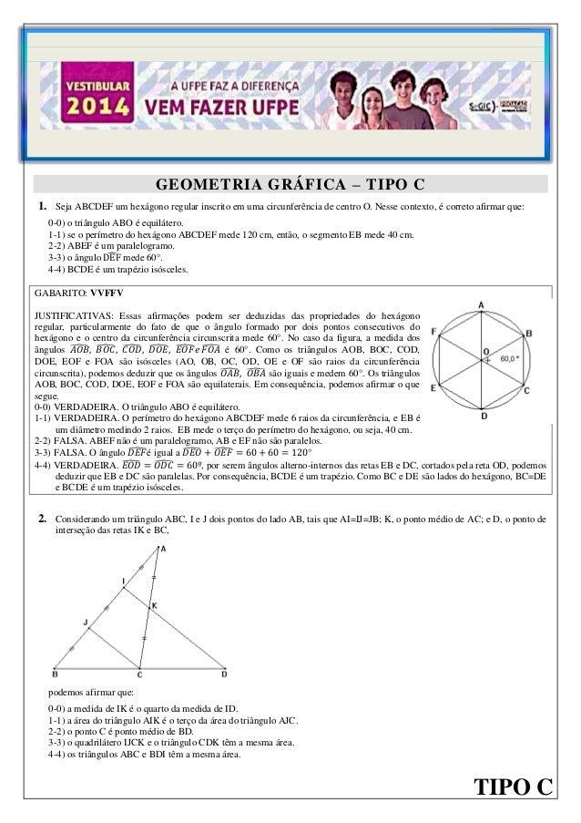 1  GEOMETRIA GRÁFICA – TIPO A  GEOMETRIA GRÁFICA – TIPO C 1. Seja ABCDEF um hexágono regular inscrito em uma circunferênci...