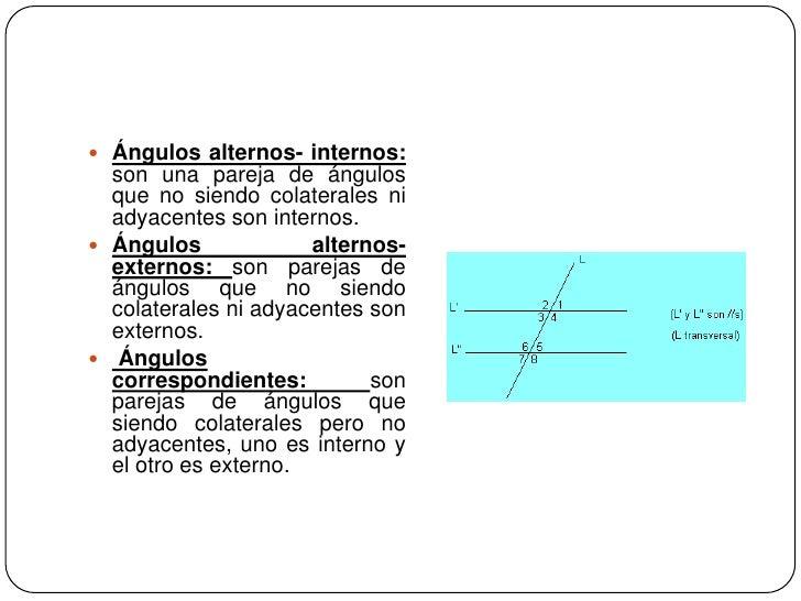 Ángulos alternos- internos: son una pareja de ángulos que no siendo colaterales ni adyacentes son internos.<br />Ángulos a...