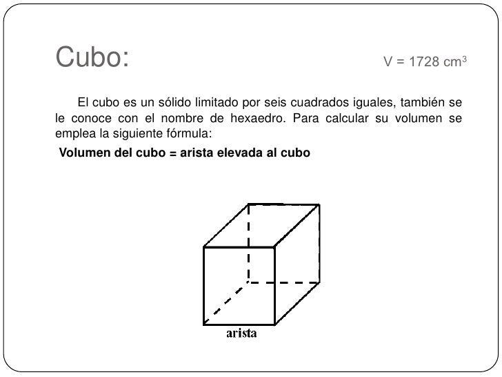 Cubo:    V = 1728 cm3<br />El cubo es un sólido limitado por seis cuadrados iguales, también se le conoce con el nomb...