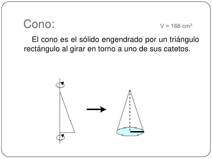 Cono:      V = 166 cm3<br />    El cono es el sólido engendrado por un triángulo rectángulo al girar en torno a uno d...