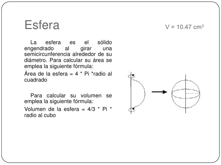 Esfera     V = 10.47 cm3<br />    La esfera es el sólido engendrado al girar una semicircunferencia alrededor de su d...