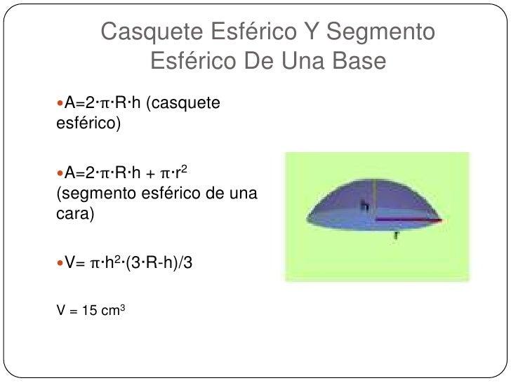 Casquete Esférico Y Segmento Esférico De Una Base<br />A=2·π·R·h (casquete esférico) <br />A=2·π·R·h + π·r2 (segmento esfé...