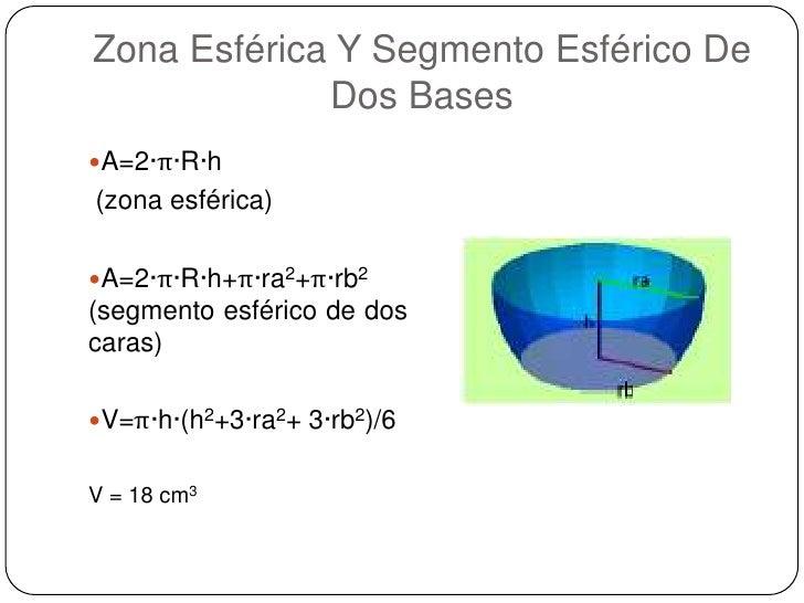 Zona Esférica Y Segmento Esférico De Dos Bases <br />A=2·π·R·h<br /> (zona esférica) <br />A=2·π·R·h+π·ra2+π·rb2 (segmento...