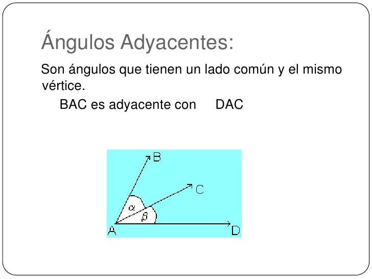 Ángulos Adyacentes:<br />Son ángulos que tienen un lado común y el mismo vértice. <br />     BAC es adyacente con    DAC...