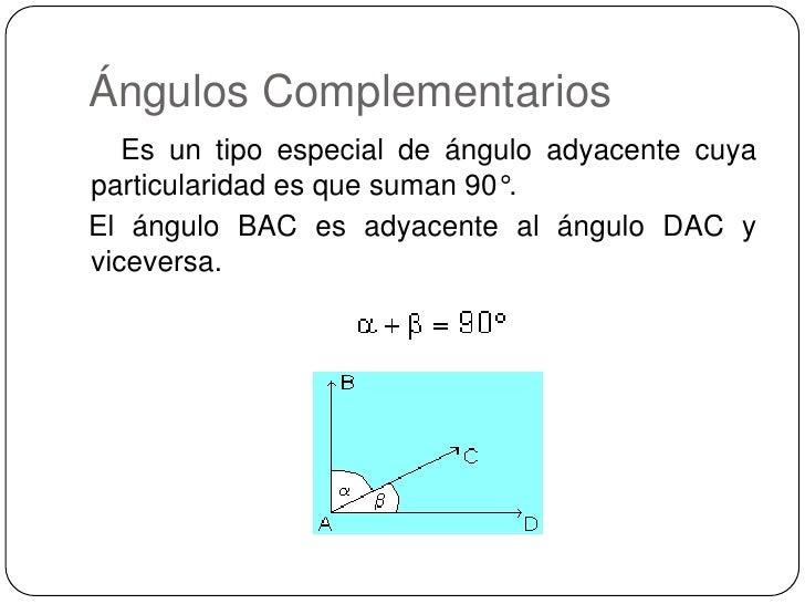 Ángulos Complementarios<br />    Es un tipo especial de ángulo adyacente cuya particularidad es que suman 90°.<br />Elá...
