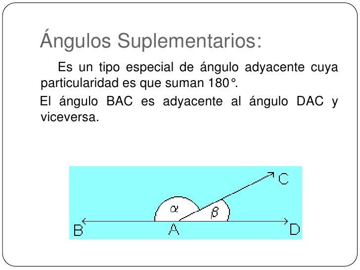 Ángulos Suplementarios:<br />     Es un tipo especial de ángulo adyacente cuya particularidad es que suman 180°.  <br /...