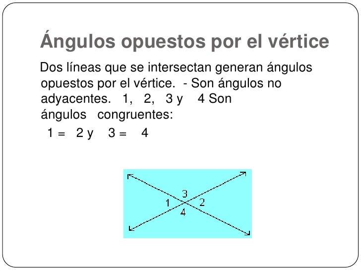 Ángulos opuestos por el vértice<br />Dos líneas que se intersectan generan ángulos opuestos por el vértice. - Son ángulos...