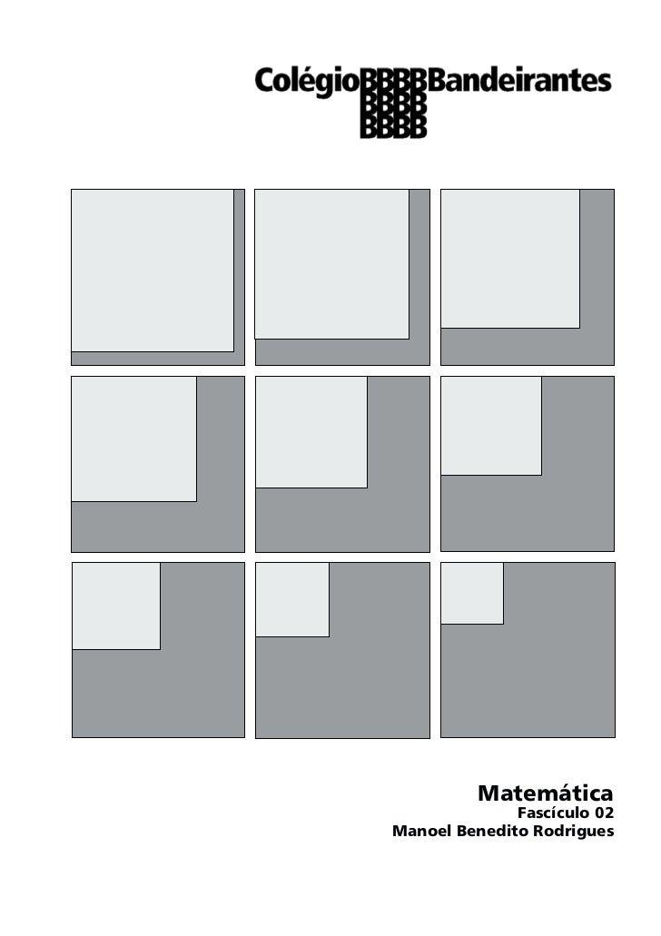 Matemática              Fascículo 02Manoel Benedito Rodrigues