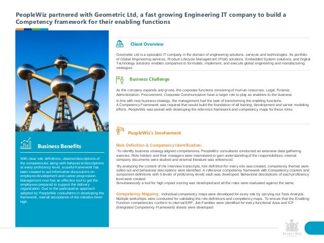 PeopleWiz partnered with Geometric Ltd, a fast growing Engineering IT company to build a Competency framework for their en...