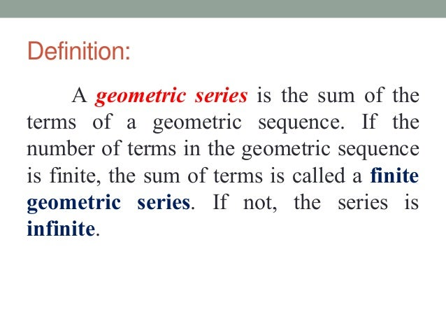 geometric progression series and sums A geometric progression is formed when we multiply successive terms in a progression by some fixed number we see how to find the sum of a gp.