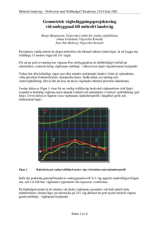 Mötesfri landsväg – Nollvision med Nollbudget? Konferens 13/14 Juni 2001 Sidan 1 av 6 Geometrisk vägbeläggningsprojekterin...