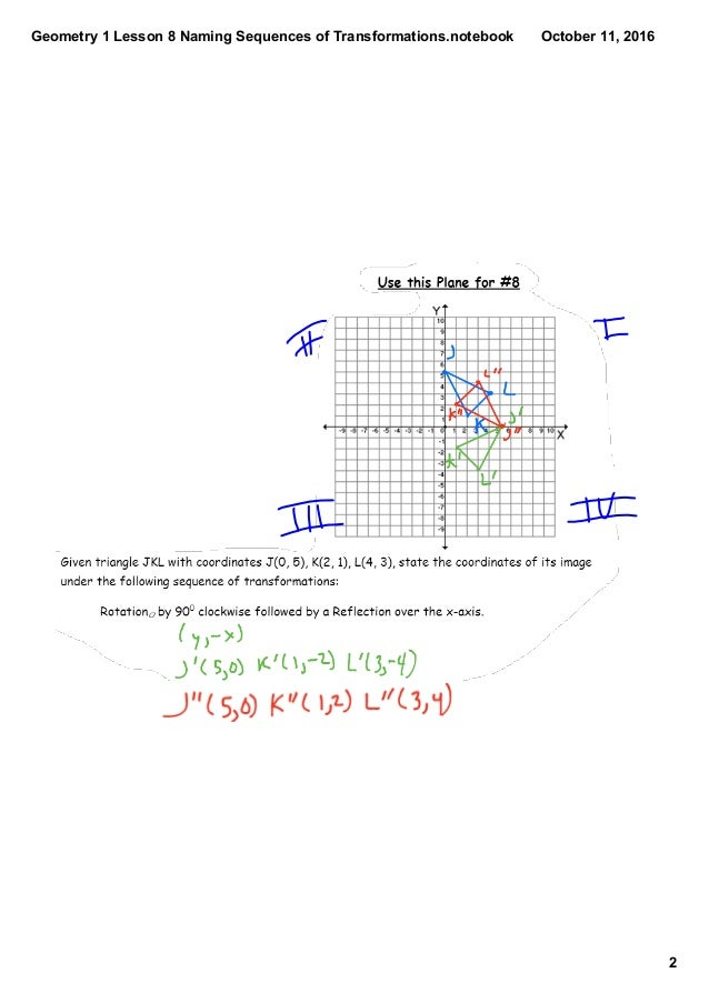 Geometry 1 lesson 8 naming sequences of transformations